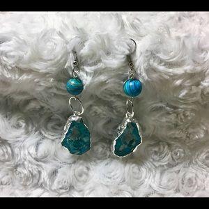Turquoise Stone Geode Druzy Earrings